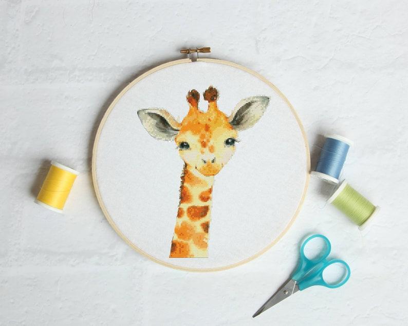 Nursery giraffe cross stitch Pattern PDF Beginners cross stitch For kids Cross Easy cross stitch Simple cross stitch Funny cross stitch
