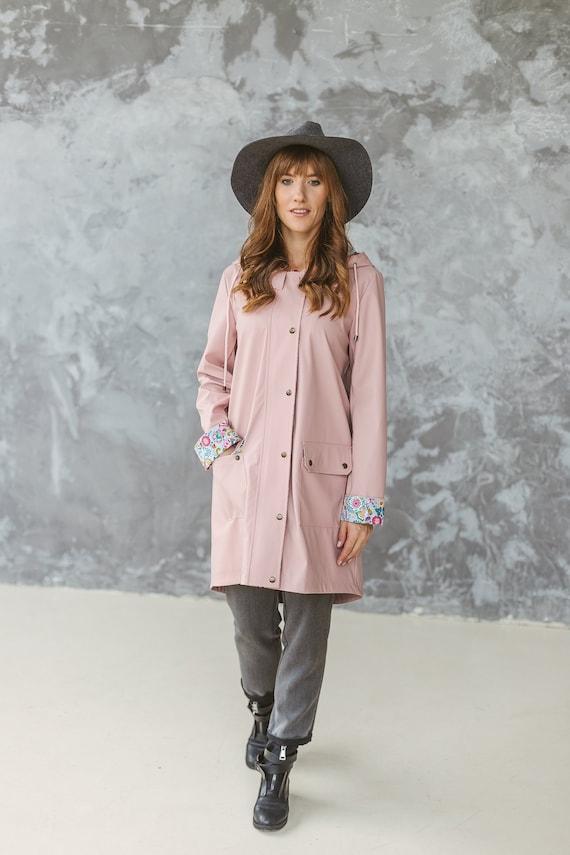 Dusty Pink Plastic Raincoat For Women, Pink Plastic Trench Coat