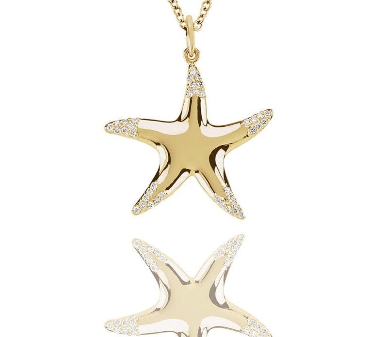 Made in USA Charm 14k Yellow Gold STARFISH Pendant