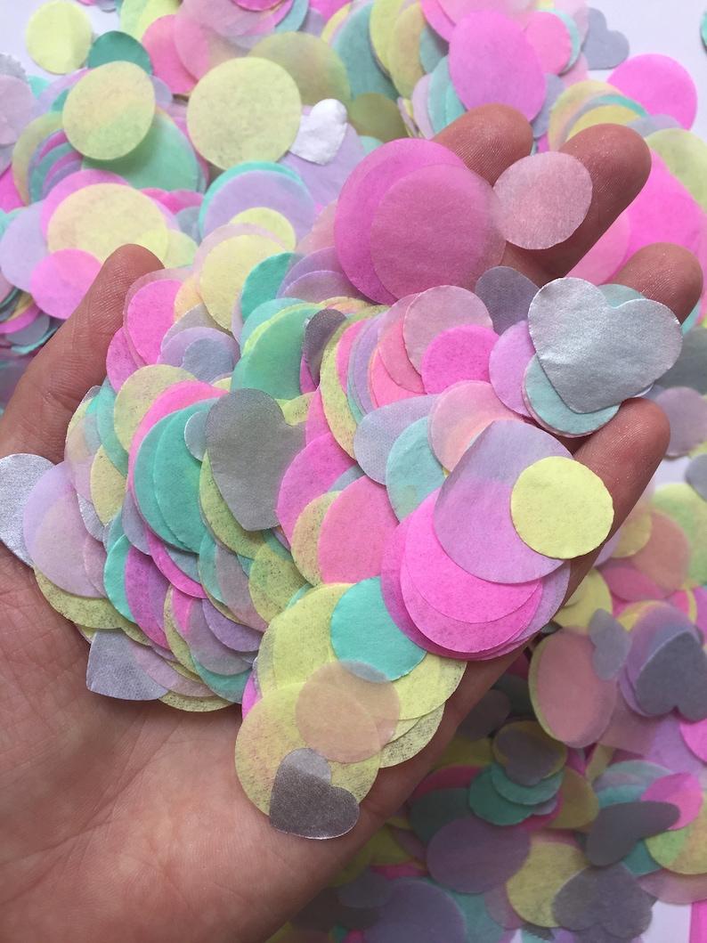 1e35a30cba584 Unicorn confetti pink yellow pink mint circle confetti pastel rainbow decor  icecream party