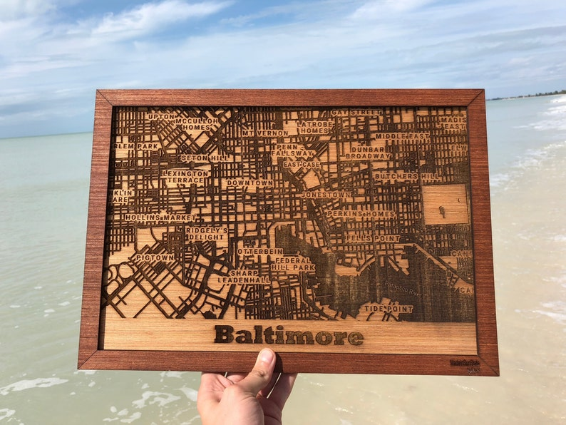 70 U.S. Cities Baltimore City map wooden map of the world | Etsy