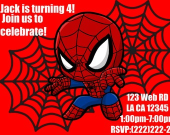 Spiderman Birthday Invitation Theme Baby