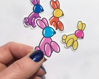 Balloon Bunny rabbit Stickers.