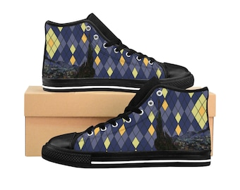 7a13bb4c376 Starry Night Argyle Womes HighTop Sneakers  Vincent Van Gogh  Custom  HighTops  HiTops  Canvas shoes  Trainers  Converse Style  Footwear