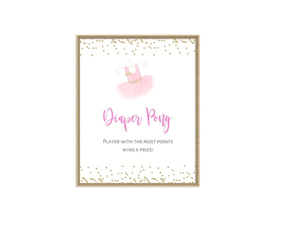 Diaper Pong Sign With A Gold Confetti Border Tutu Baby Shower Decor Ballerina Baby Shower Games Baby Shower Diaper Pong Sign Tu1