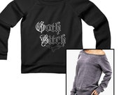 Goth Bitch Women Sponge Fleece Wide Neck Sweatshirt Bat Gothic Long Sleeve Black Sweater Off Shoulder Loose Nu Pastel Funny Gift for Her