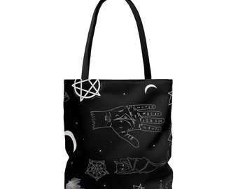 f21d1ad4ca826e Occult Tote Bag Goth Gothic Black White Witch Wiccan Pentacle Pentagram  Satanic Hexagram Raven Palmistry Crystals Moon Punk Pastel Purse
