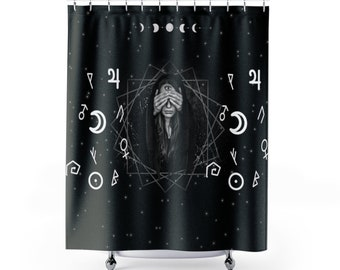 Witch Shower Curtain Bathroom Decor Goth Gothic Home Pagan Wiccan Black Nu Spooky Horror Witchy Runes Moon Phase House Restroom