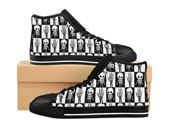 d10a6c4d880af7 Cute Skeleton Women High Top Sneakers * Gothic Shoes * Punk Nu Goth Converse  Style