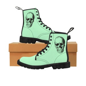 Pastel Goth Women Doc Martin Style Boots Punk Black   Green Skull Dr Doctor  Martin Combat Boot Girl Teen Shoes Gothic Mint f66d97aa5