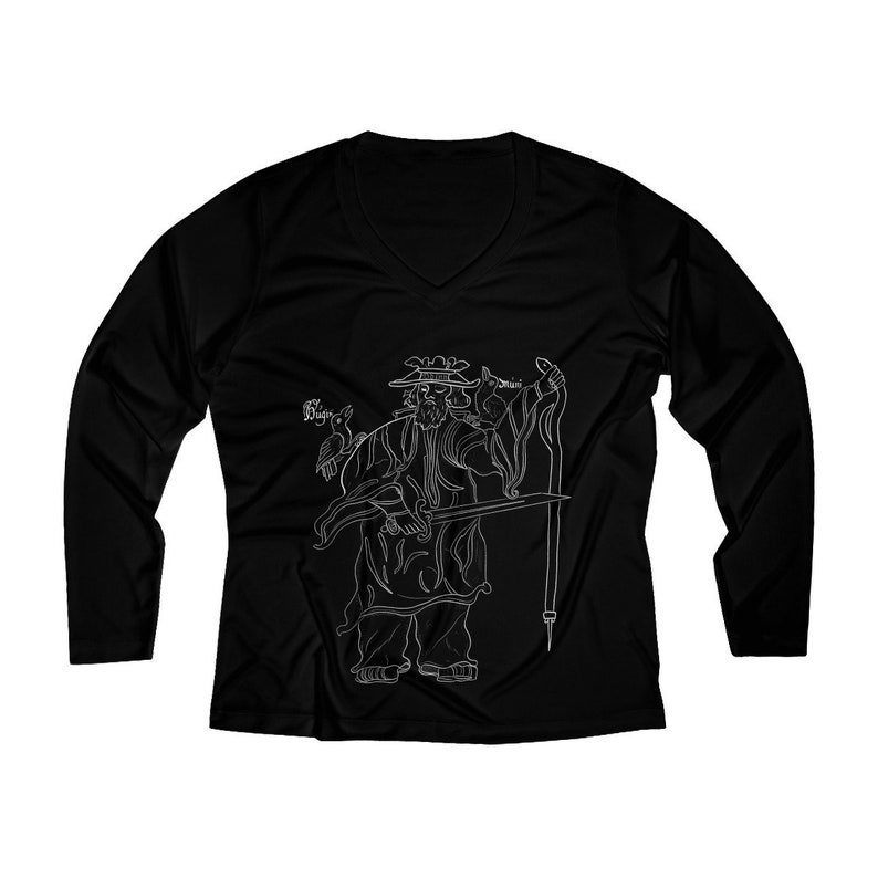 ff1b8f06 Odin & His Ravens Women Long Sleeve VNeck Tee Gothic Clothing Witchy Pagan  Norse Viking Asatru Goth Sheildmaiden Black Gray Havamal