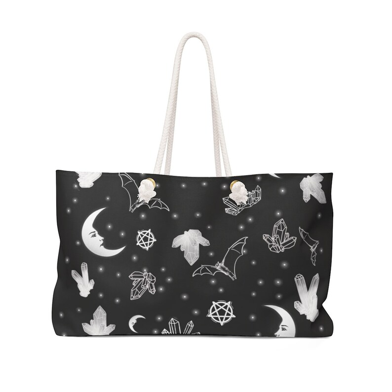 Witch Travel Bag Crystals and Bats Weekender Bag Nu Goth Large Purse Gothic Luggage