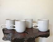 4 Vintage Heath Ceramic Coupe Mugs Opaque White Low Handle Mugs Rare Minimalist Organic