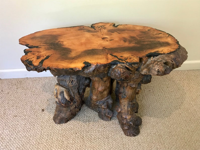 Astounding Bohemian Big Sur Redwood Small Side Has Table Live Edge Nakashima Style Burlwood Coffee Table Beutiful Home Inspiration Cosmmahrainfo