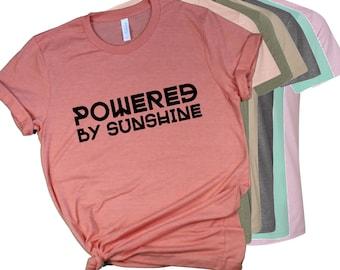 Powered By Sunshine T Shirt Sun Goddess Beach Lover Solar Environmentalist Eco Friendly Spring Break Tee Birthday Gift