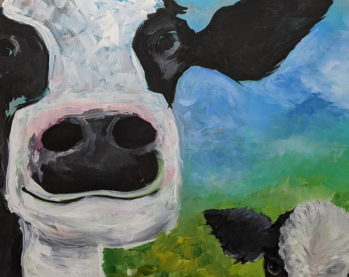 Happy Cow and Calf - 36 x 48 Original Acrylic Painting on Canvas - Sheri Chen 2017