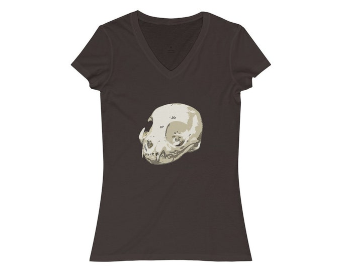 Cat Skull Of Doom  WomenS Jersey Short Sleeve VNeck Tee