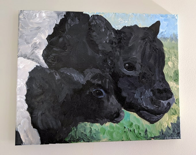 Beltie Mother and Calf - Acrylic on Canvas