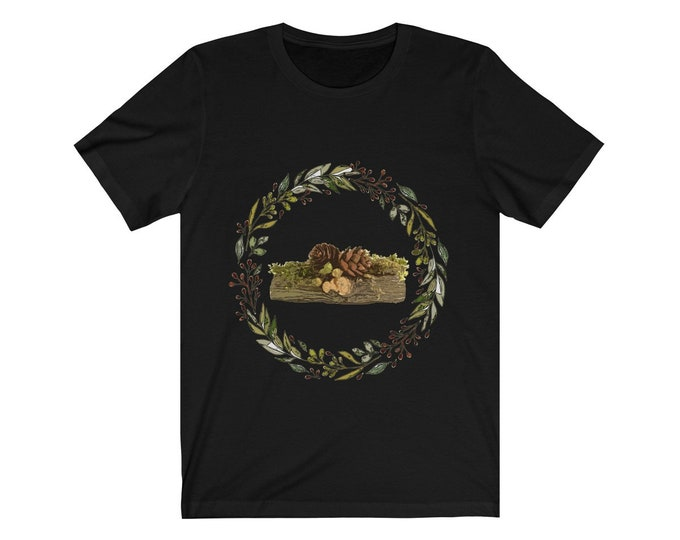 Yule Log Wreath Soft Unisex Jersey  Tee