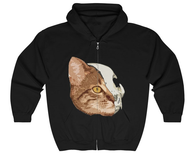 Half Cat Unisex Zip Up Hoodie