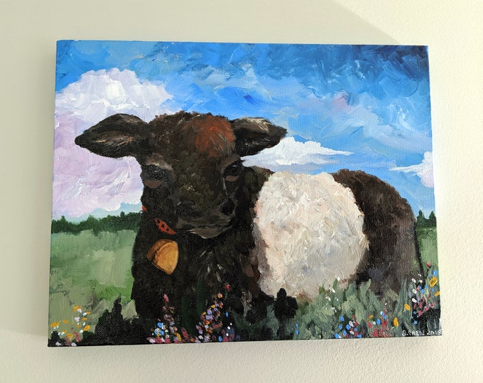 Beltie Yearling - Acrylic on Canvas by Sheri Chen 11x14