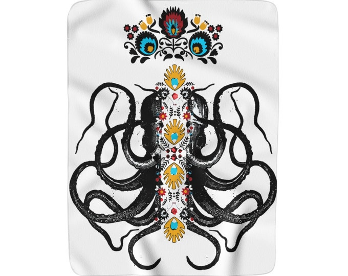 Octopus King Sherpa Fleece Blanket
