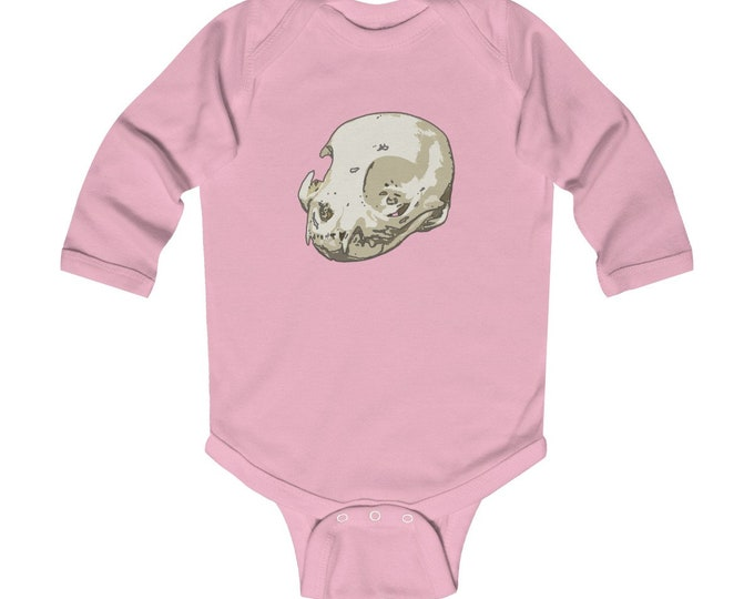 Cat Skull Of Doom  Adorable Infant Long Sleeve Bodysuit