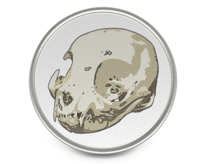 Cat Skull Of Doom  Awesome Metal Pin Of Awesomeness