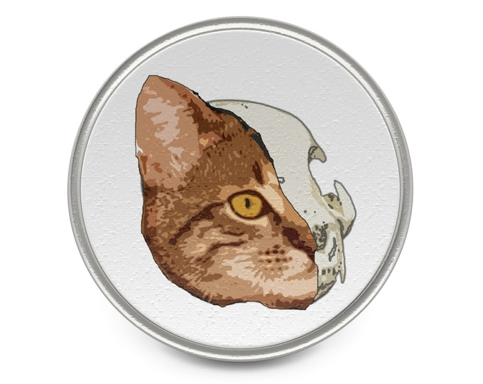 Half Cat Amazingly Awesome Metal Pin