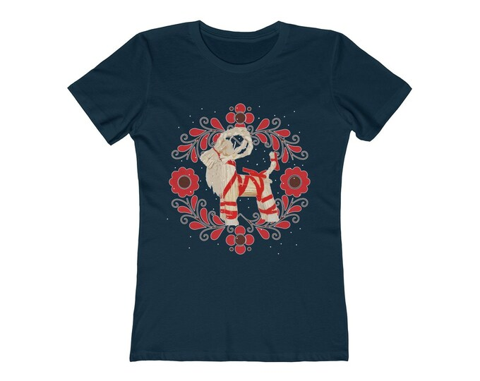 Yule Goat  Soft WomenS The Boyfriend Tee  Special Holiday Price