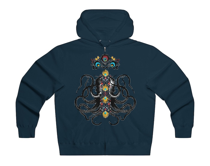 Octopus King   Lightweight Zip Hoodie