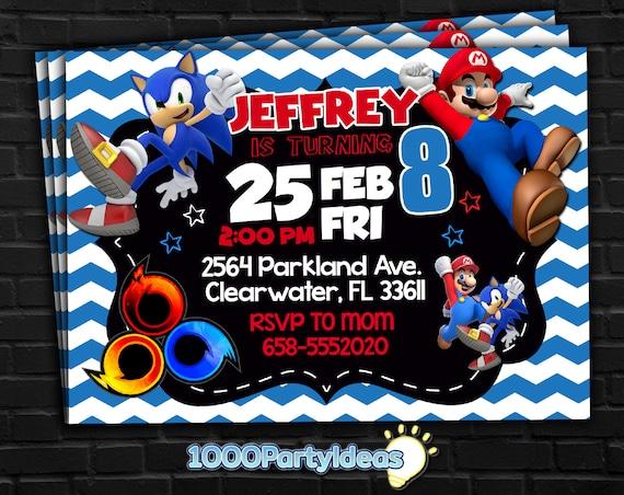 Mario Vs Sonic Birthday Invitation Mario Vs Sonic Party Printables Mario Vs Sonic Party Invite Mario Vs Sonic Game Party Theme