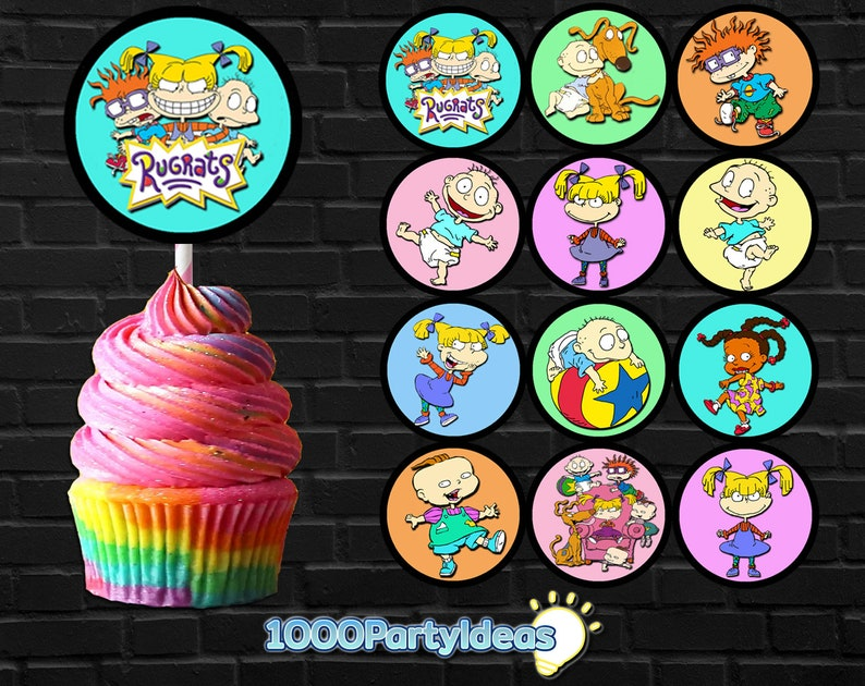 Terrific 12 Rugrats Cupcake Toppers Instant Download Rugrats Birthday Etsy Funny Birthday Cards Online Necthendildamsfinfo
