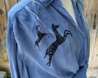 Horse Blouse by Tianello, Vintage Rayon Shirt Button Up
