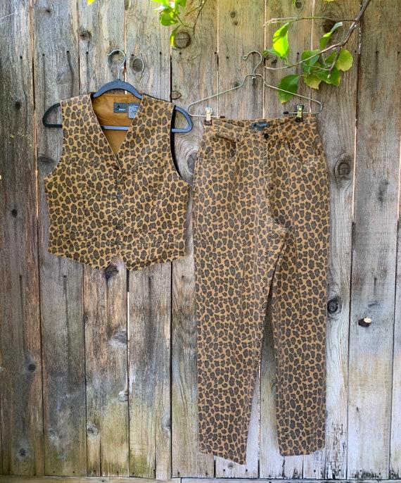 Vintage Animal Print Outfit, Vest & Pant set, Chee