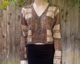 Vintage Wool Plaid Sweater, Womens Zip Up