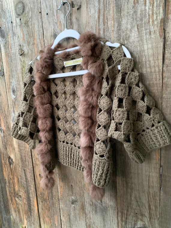 Vintage Crochet Cardigan with Fur