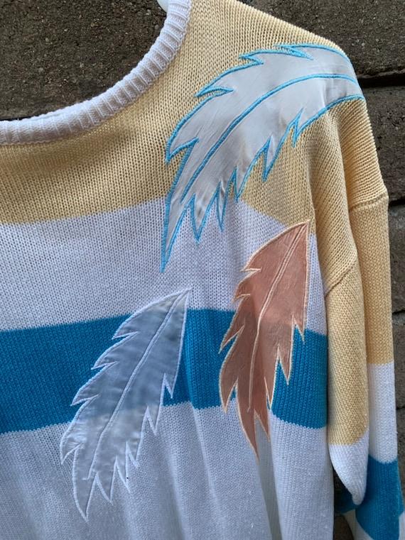Vintage 80s Sweater, Loubella pastel, silky feath… - image 4