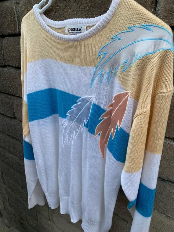 Vintage 80s Sweater, Loubella pastel, silky feath… - image 2