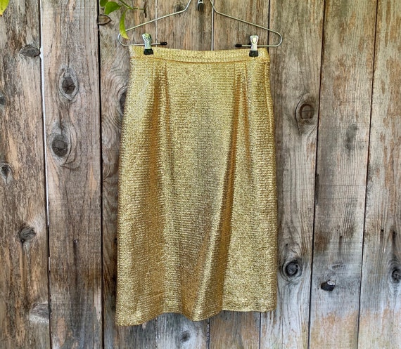Vintage Metallic Gold Pencil Skirt, by Arbe Italy