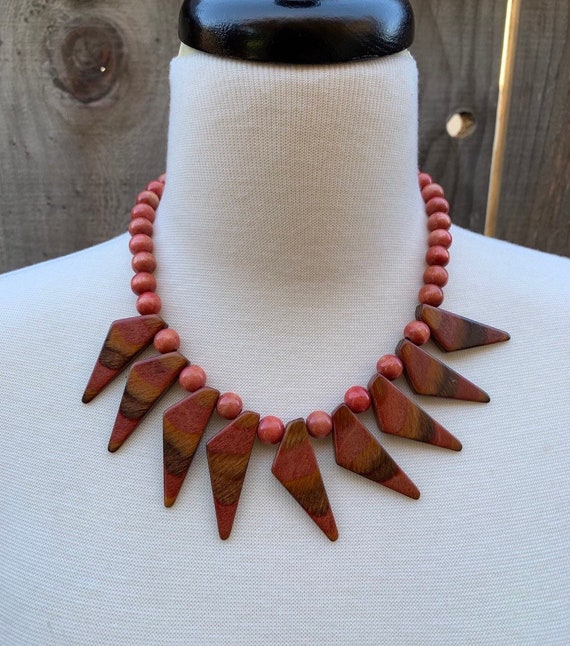 Wood Necklace, Walnut, Modernist, Mid Century