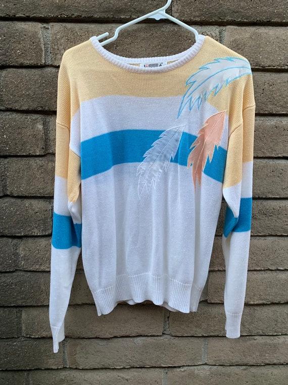 Vintage 80s Sweater, Loubella pastel, silky feath… - image 1