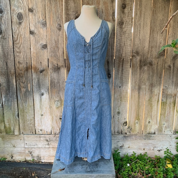 Holding Horses Denim Dress, Chambray Lace-up Anthr