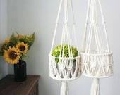 Macrame plant hangers, wall planter indoor outdoor, hanging fruit bowl, rope crochet pot holder basket, cute simple modern kitchen storage