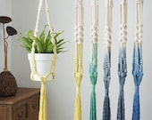 39 39 39 dip dye macrame plant hangers, macrame wall hanging planter indoor outdoor, rope crochet ceiling pot holder, blue gray yellow green
