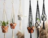 Minimalist black and white macrame plant hangers, wall hangings plant holder, rope crochet ceiling hanging planter, simple modern boho