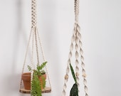 Macrame plant hangers with wood tray Hanging plant shelf Long suspended wall planter large plant holder Rope crochet ceiling hanging planter