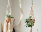 Large macrame plant hanger Long spiral pot holder Suspended wall planter basket Decorative crochet ceiling hanging planter Terrarium hanger
