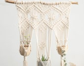 Macrame wall hanging Crochet wall planter indoor outdoor Triple rope plant hanger Large long woven wall tapestry yellow cute boho decor