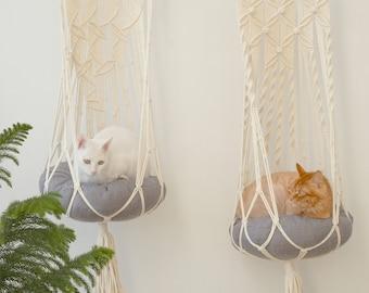 Hanging cat bed, Cat tree, Macrame cat hammock, Cat wall furniture, Cat swing, Crochet cat cave, Cat supplies, Cat gifts, Cat lover gift